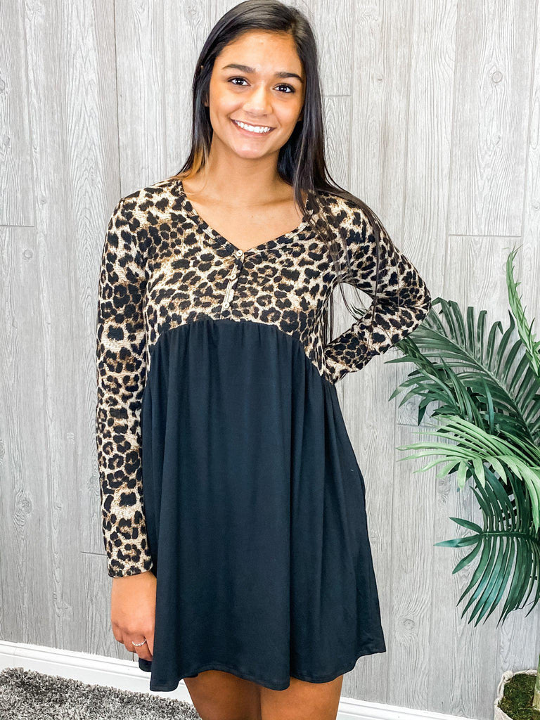 Wild For You Leopard Babydoll Dress