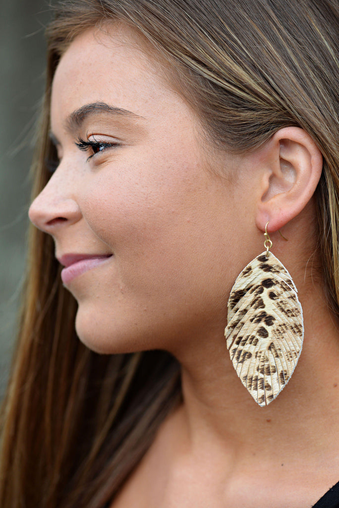 On the Prowl Leatherette Earrings