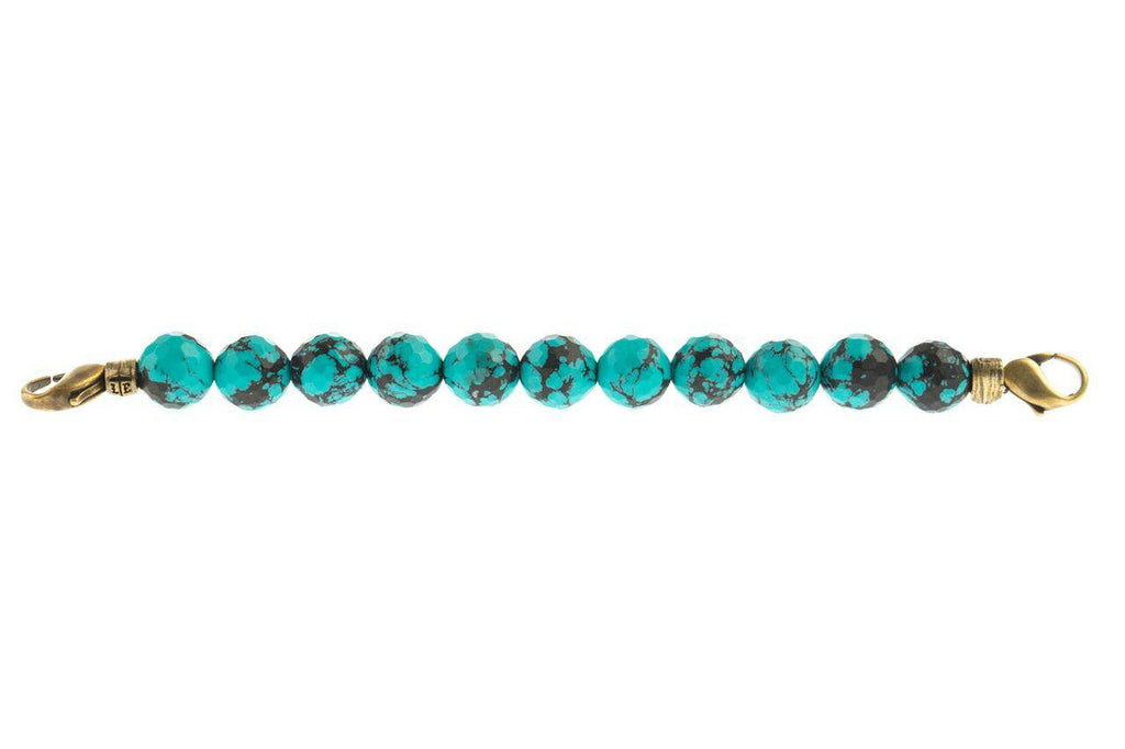 Marbled Teal Beaded Link Bracelet - Lenny and Eva