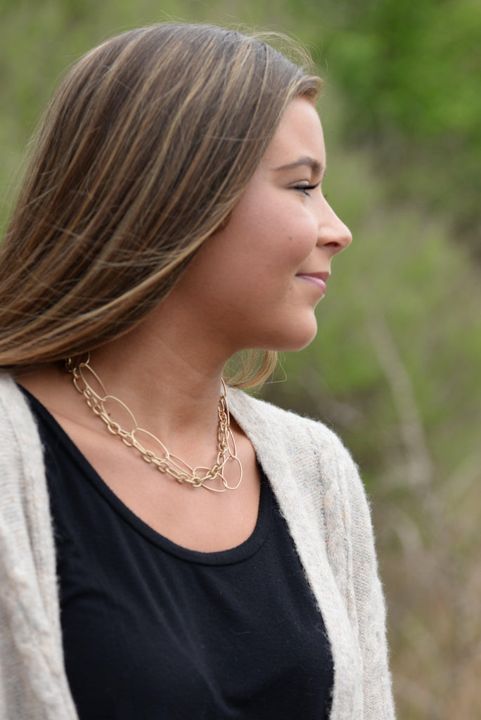 Matte Gold Tone Mixed Chain Necklace