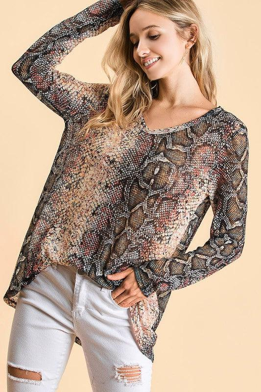 Missing You Snakeskin Top