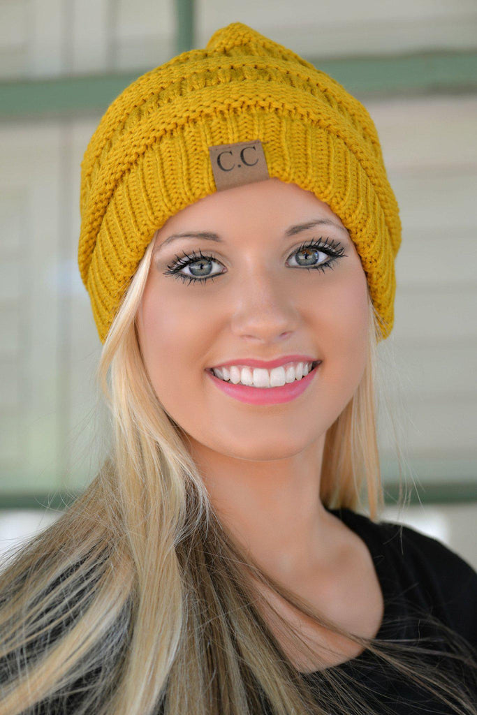 Mustard Slouchy Knit Beanie