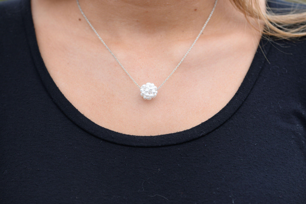 Pearl Cluster Cotton Ball Necklace
