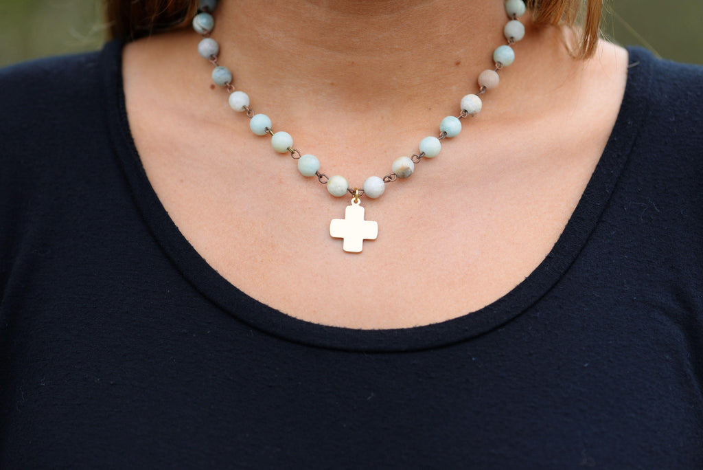 Amazonite Beaded Cross Necklace