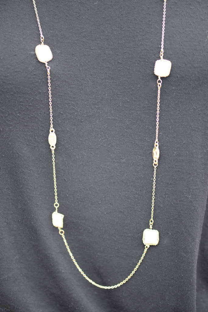 Long Mother of Pearl Shell Necklace