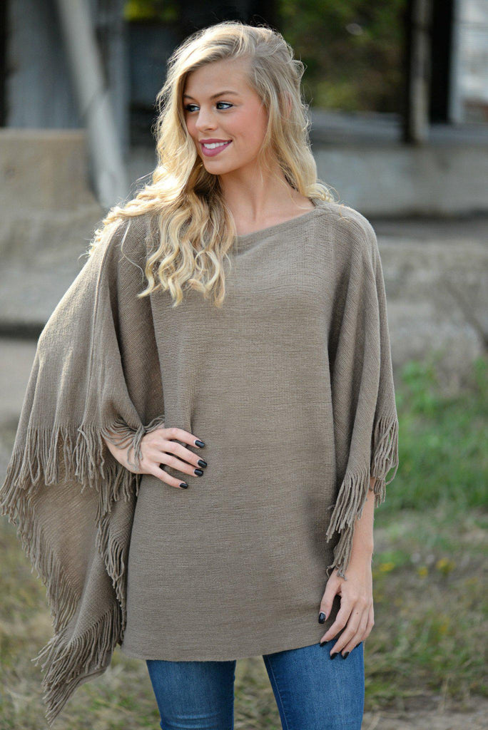 On My Mind Taupe Poncho