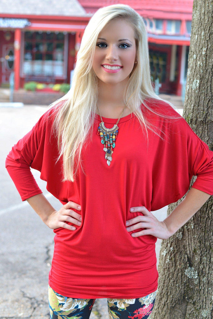 Red Dolman Top