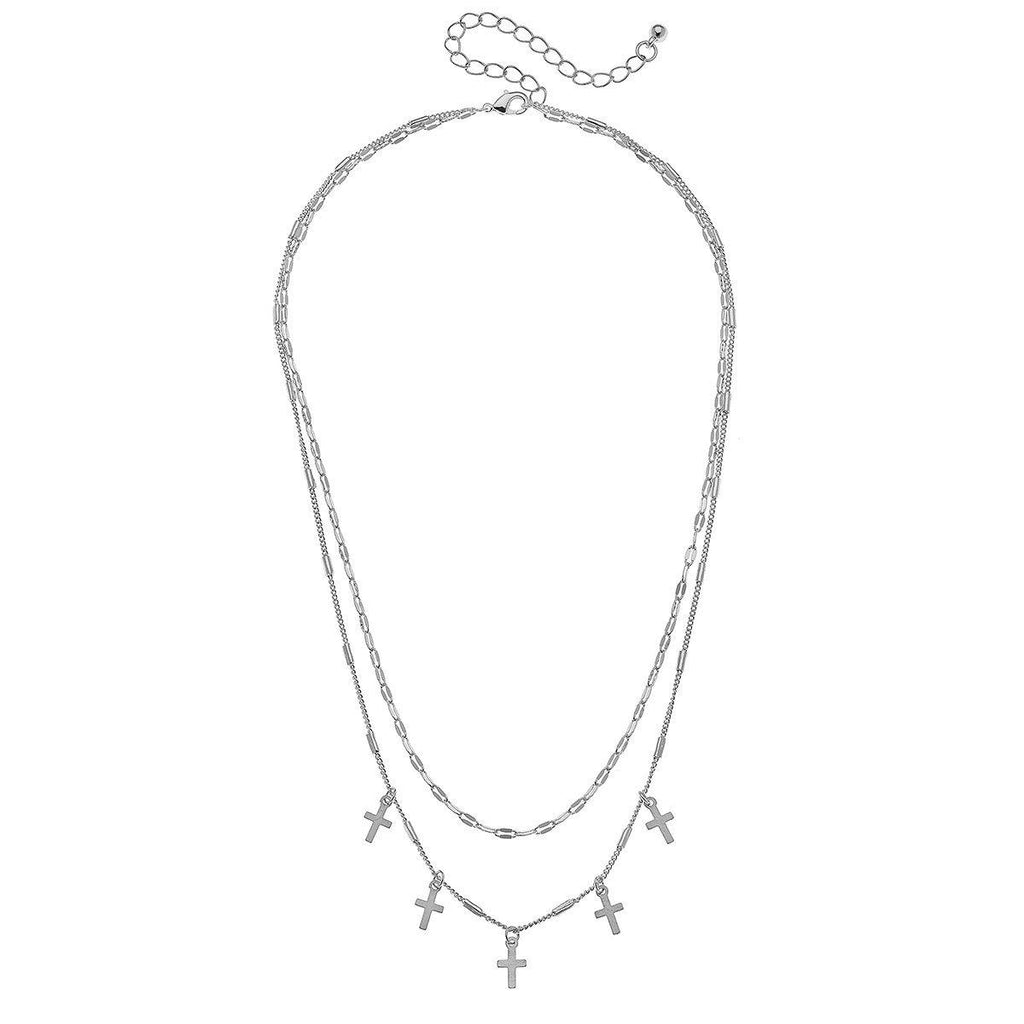 Five Crosses Silver Tone Necklace