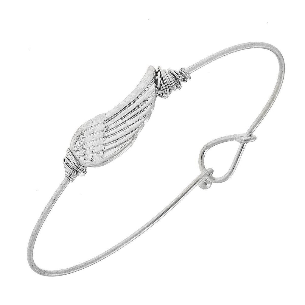 Angel Wing Worn Silver Bracelet