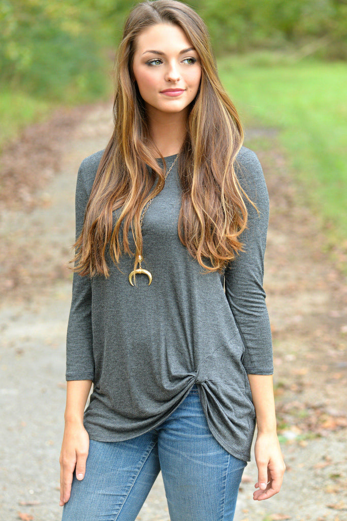 Simply Twisted Charcoal Top