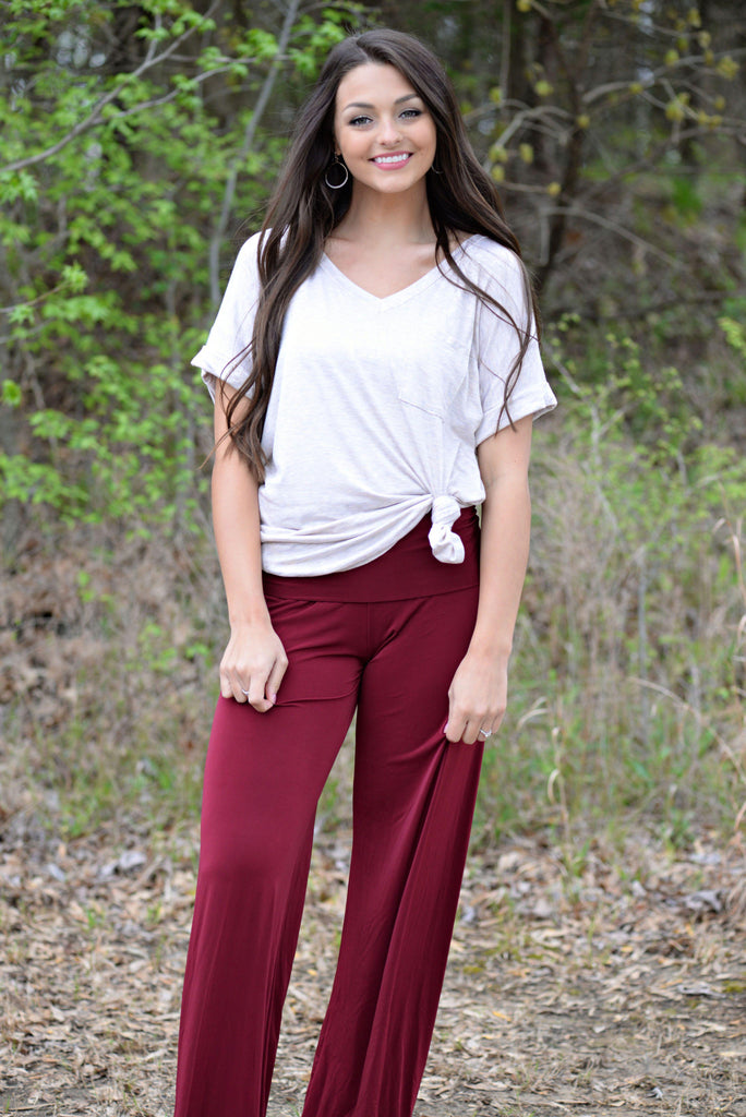 Solid Burgundy Yoga Pants