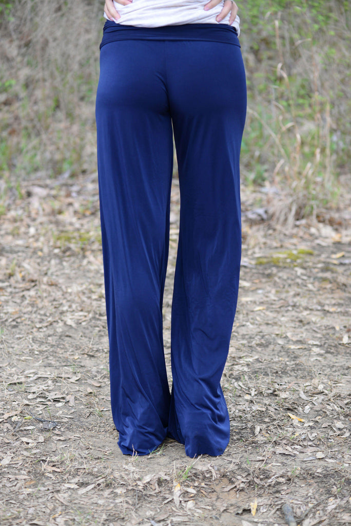 SOLID NAVY YOGA PANTS