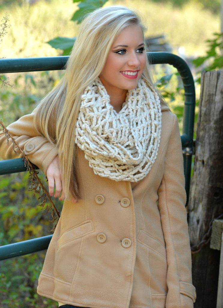 Squared Away Beige Infinity Scarf