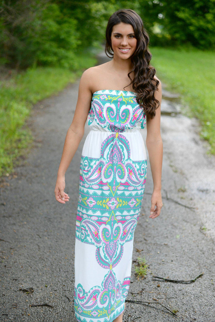 Stealing Kisses Strapless Maxi Dress