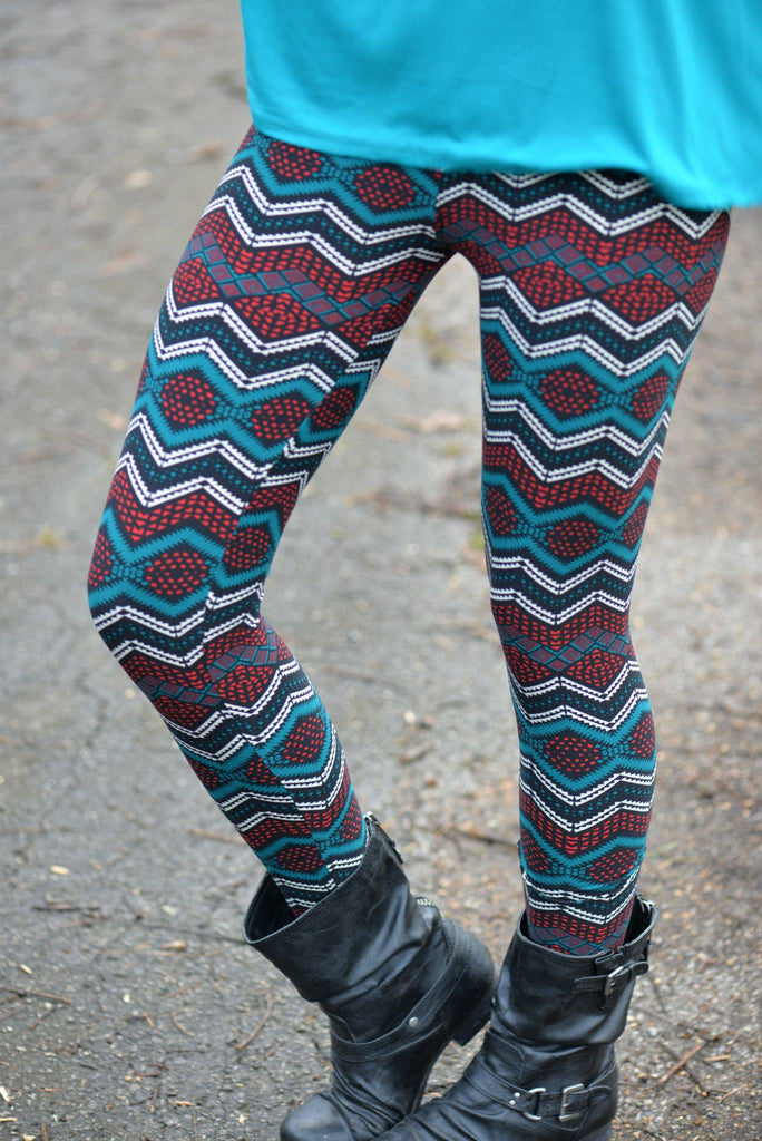 Tealing Kisses Print Leggings