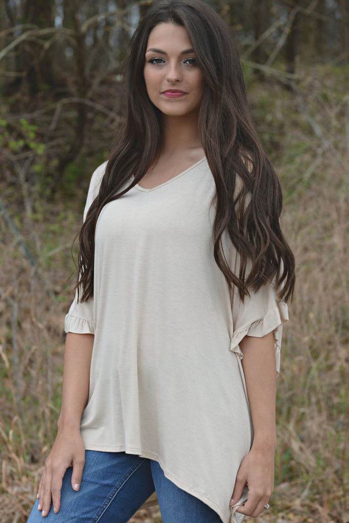 THE RIGHT TIME BEIGE RUFFLE TOP