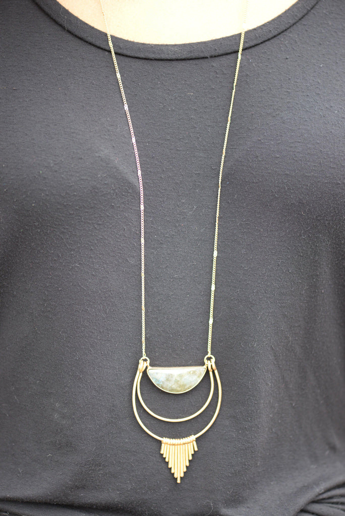Three Layer Pendant Stone Necklace