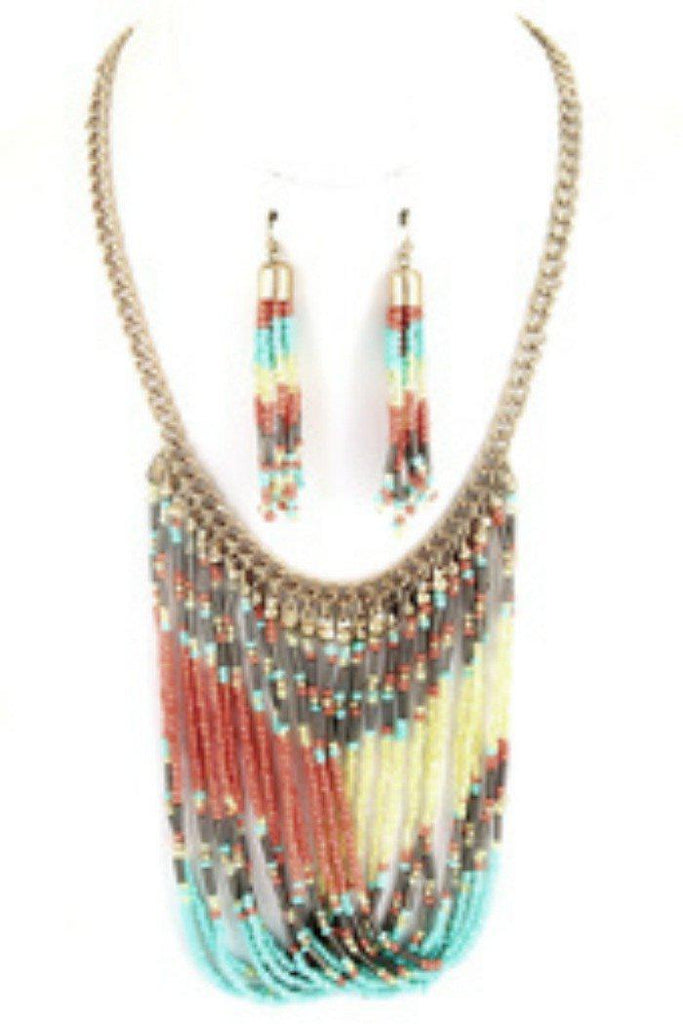 Tribal Seed Bead Necklace Set