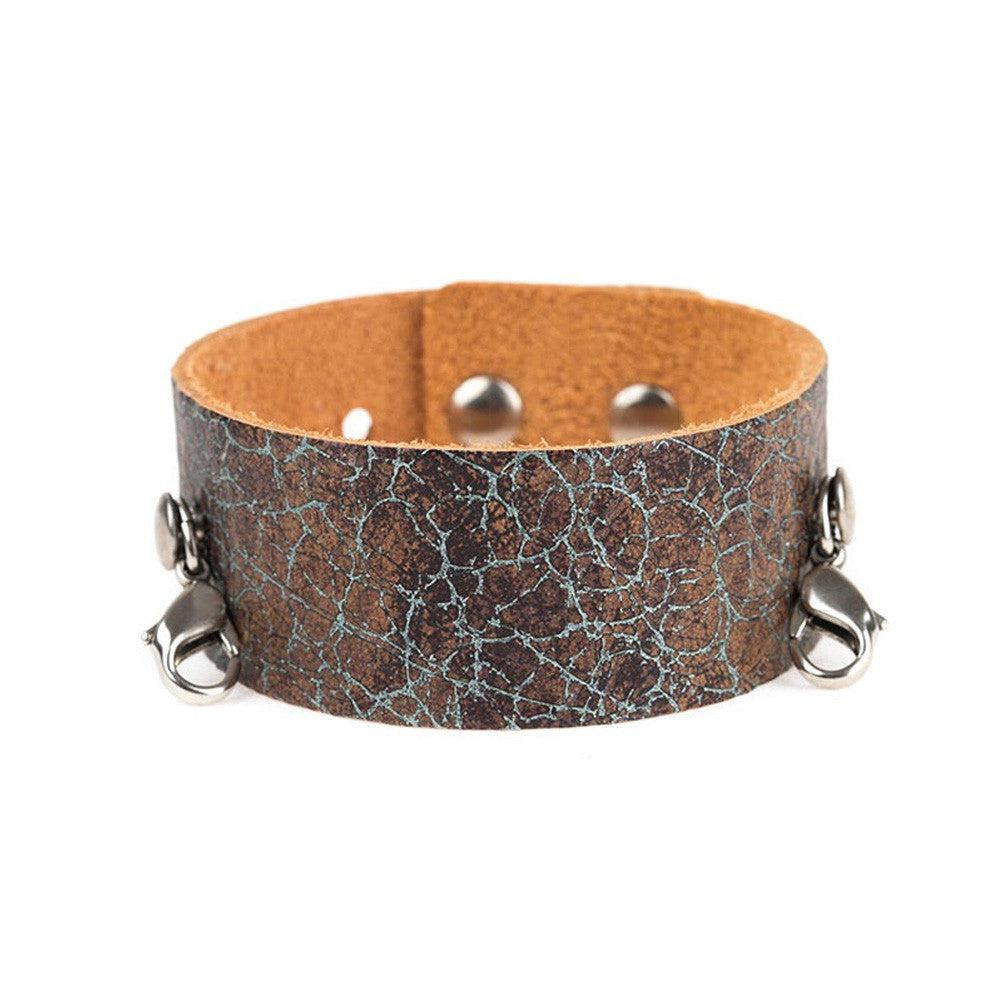 Distressed Turquoise Thin Leather Cuff - Lenny and Eva