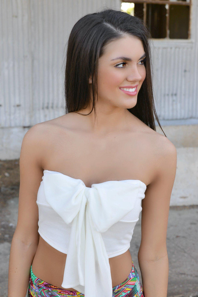 White Bandeau Bow Crop Top