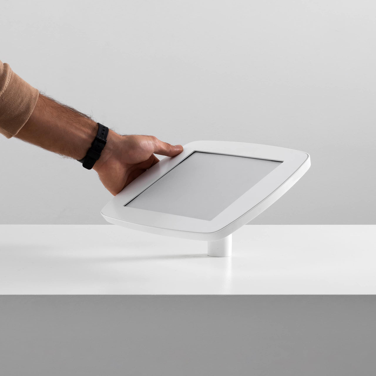 Bouncepad Desk - A secure tablet & iPad desk mount in white.