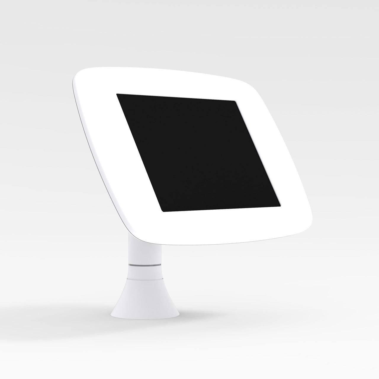 Bouncepad Sumo - A secure & adjustable tablet & iPad desk mount in white.