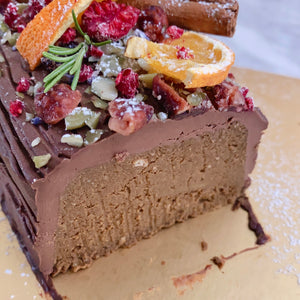 *XMAS EXCLUSIVE* Flourless Dark Earl Grey Wholefoods Log Cake (GF, V, RSF, Nut Free Option)