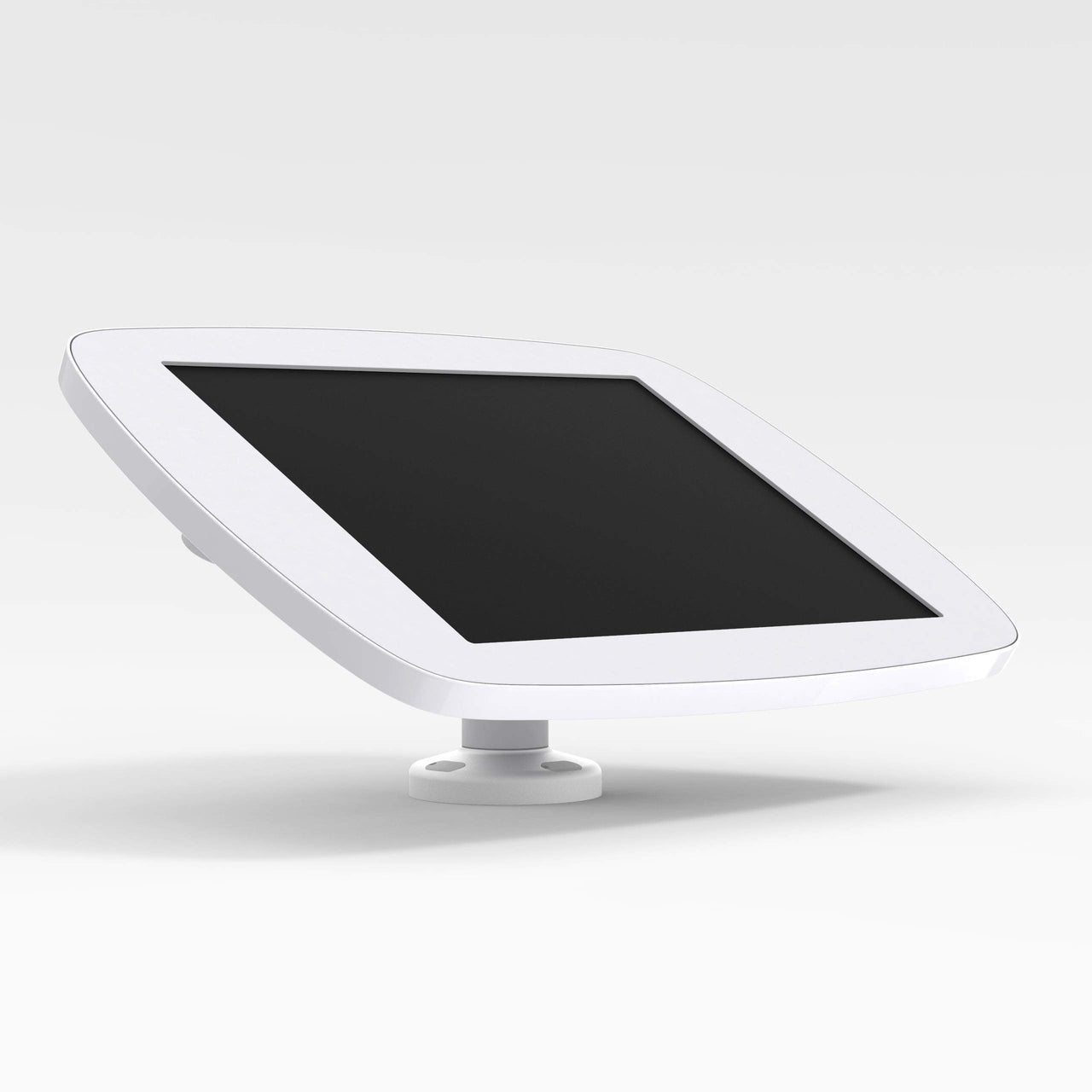 Bouncepad Swivel Desk - A secure rotating tablet & iPad desk mount in white.