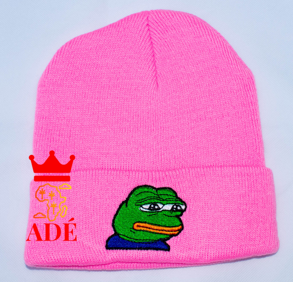 Sad Kermit Embroidery Beanies