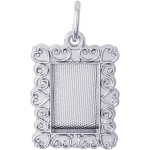 Sterling Silver Scroll Frame Charm