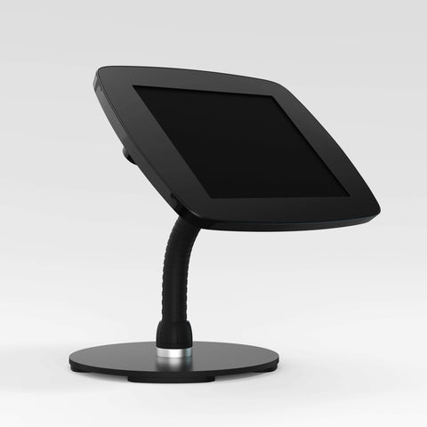 Bouncepad Counter Flex - A secure tablet & iPad gooseneck stand in black.