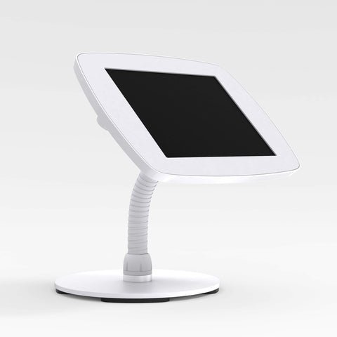Bouncepad Counter Flex - A secure tablet & iPad gooseneck stand in white.