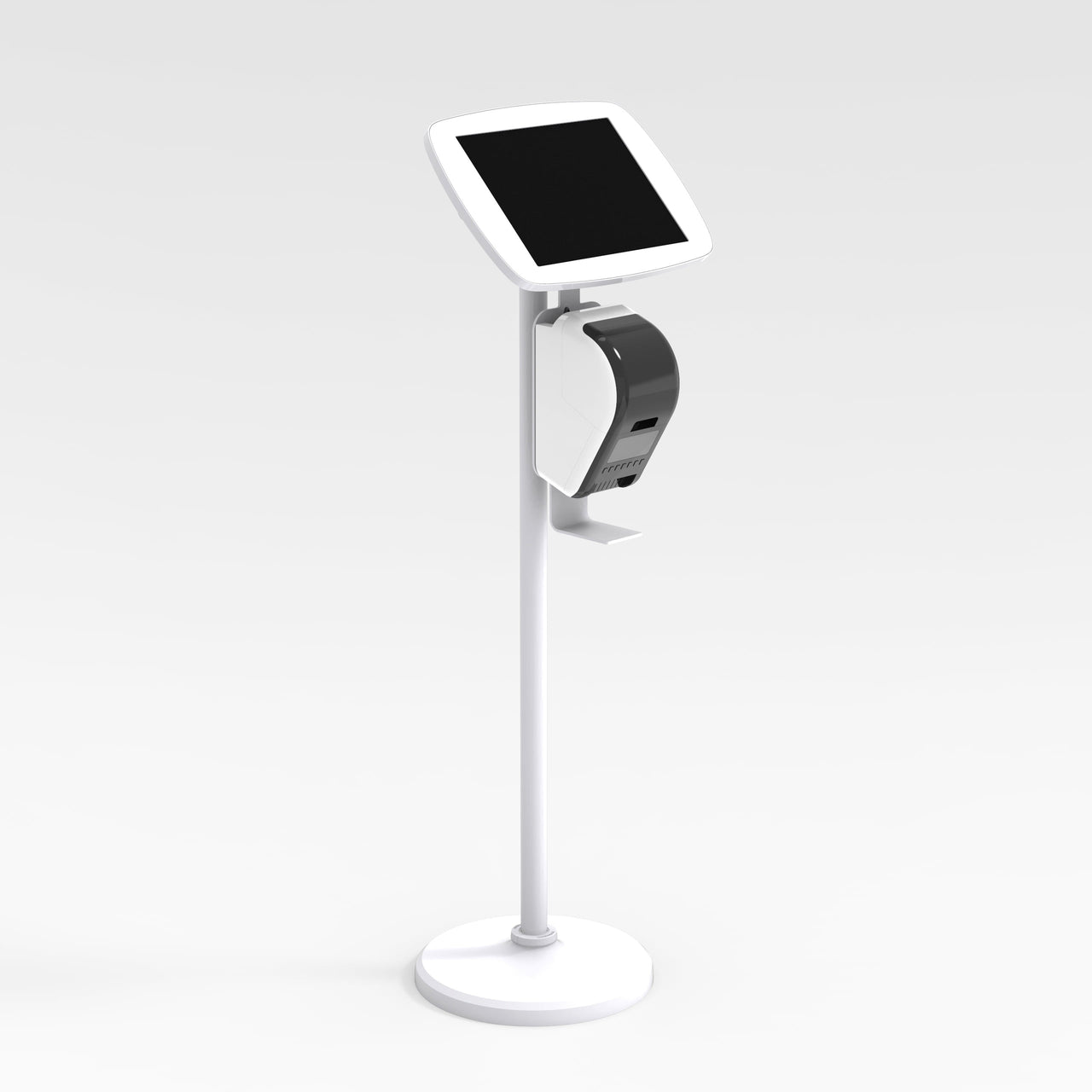 Bouncepad Floorstanding Brother - A secure tablet & iPad floor stand in white.