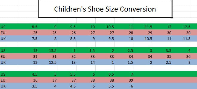 Children's Shoe Sizing Conversion Chart – HKM CANADA