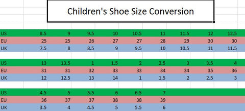 Children's Shoe Sizing Conversion Chart