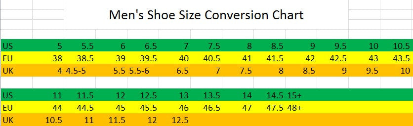 Mens Shoeboot Conversion Size Chart Eu To Us Hkm Canada