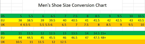 Men's Shoe/Boot Conversion Size Chart EU to US