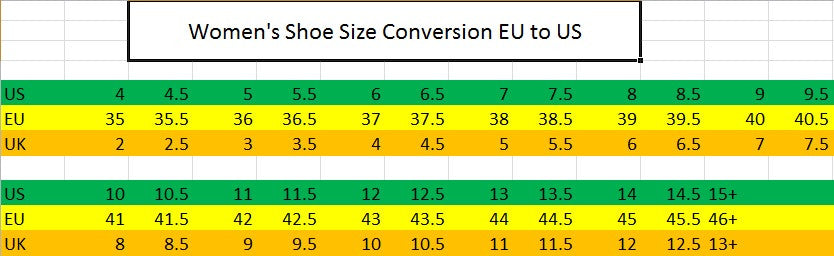 Women's Shoe/Boot Size Conversion Chart