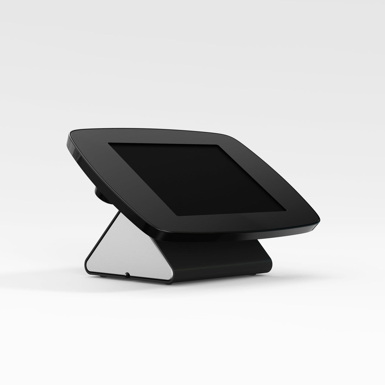 Bouncepad Flip - A secure tablet & iPad POS stand in black.
