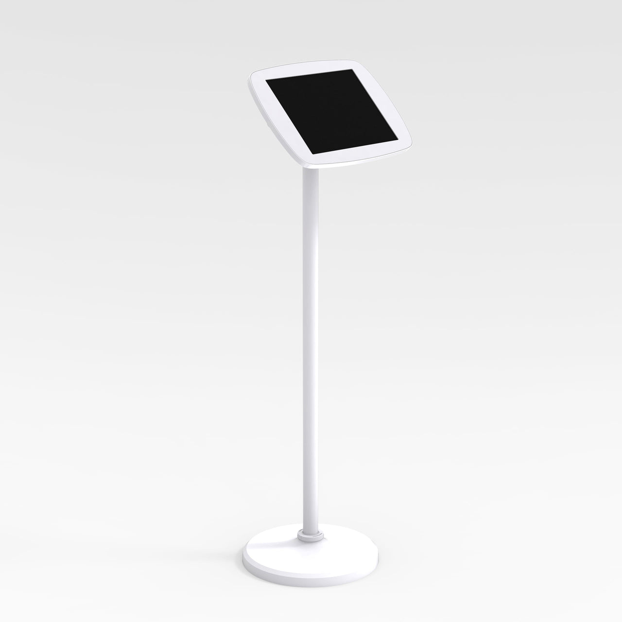 Bouncepad Floorstanding - A secure tablet & iPad floor stand in white.