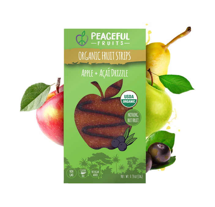 Peaceful Fruits Organic Fruit Strips - Apple + Acai Drizzle