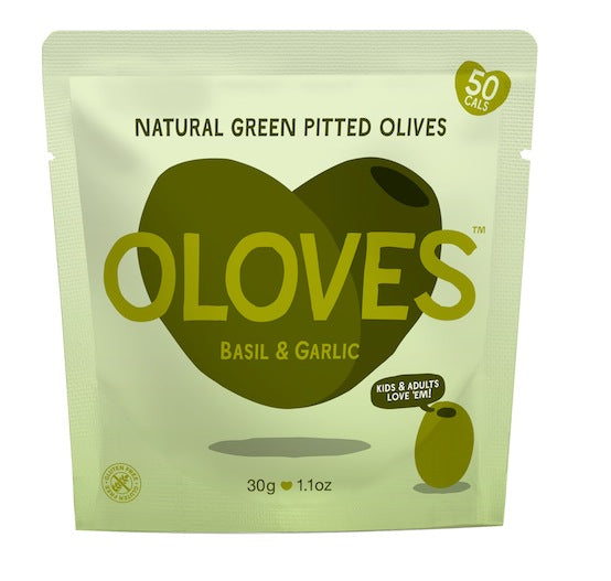Oloves - Basil & Garlic Natural Green Pitted Olives