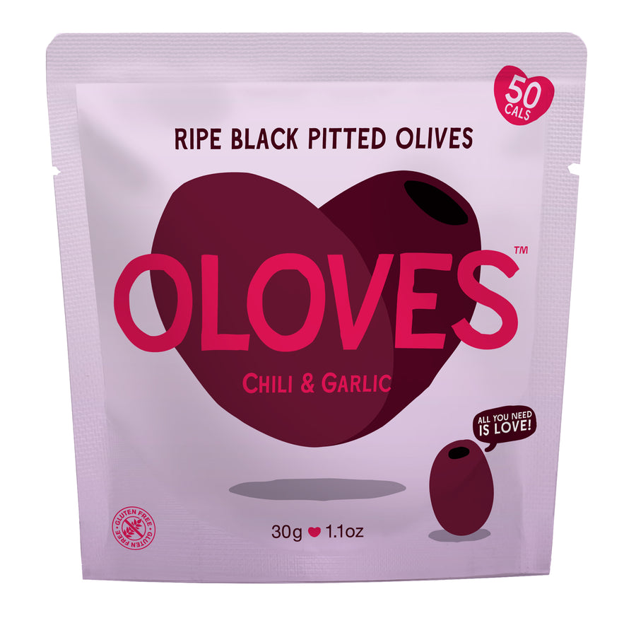Oloves - Chili & Garlic Ripe Black Pitted Olives