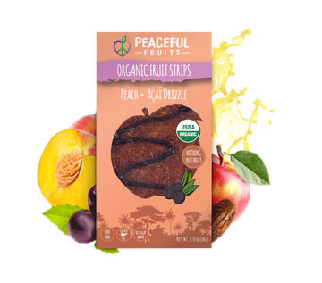Peaceful Fruits Organic Fruit Strips - Peach + Acai Drizzle