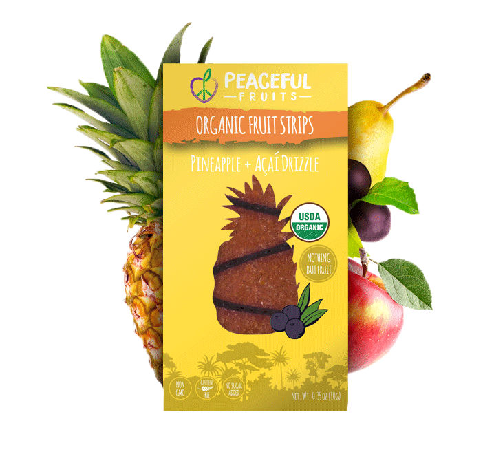 Peaceful Fruits Organic Fruit Strips - Pineapple + Acai Drizzle