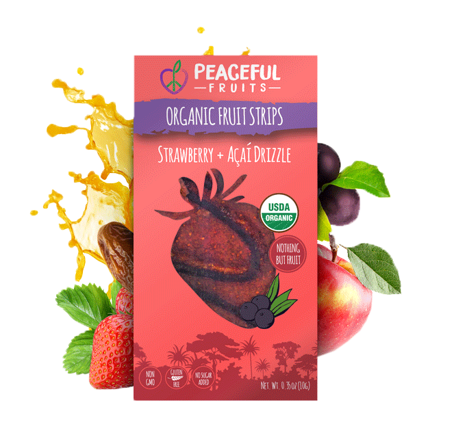 Peaceful Fruits Organic Fruit Strips - Strawberry + Acai Drizzle