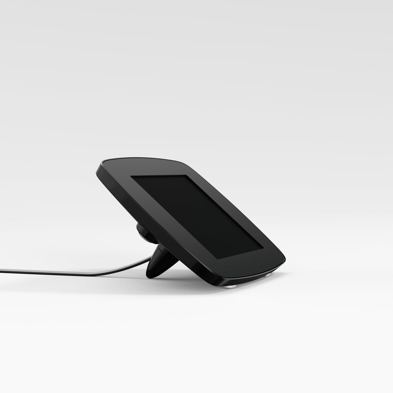 Bouncepad Lounge - A tethered tablet and iPad enclosure in black.