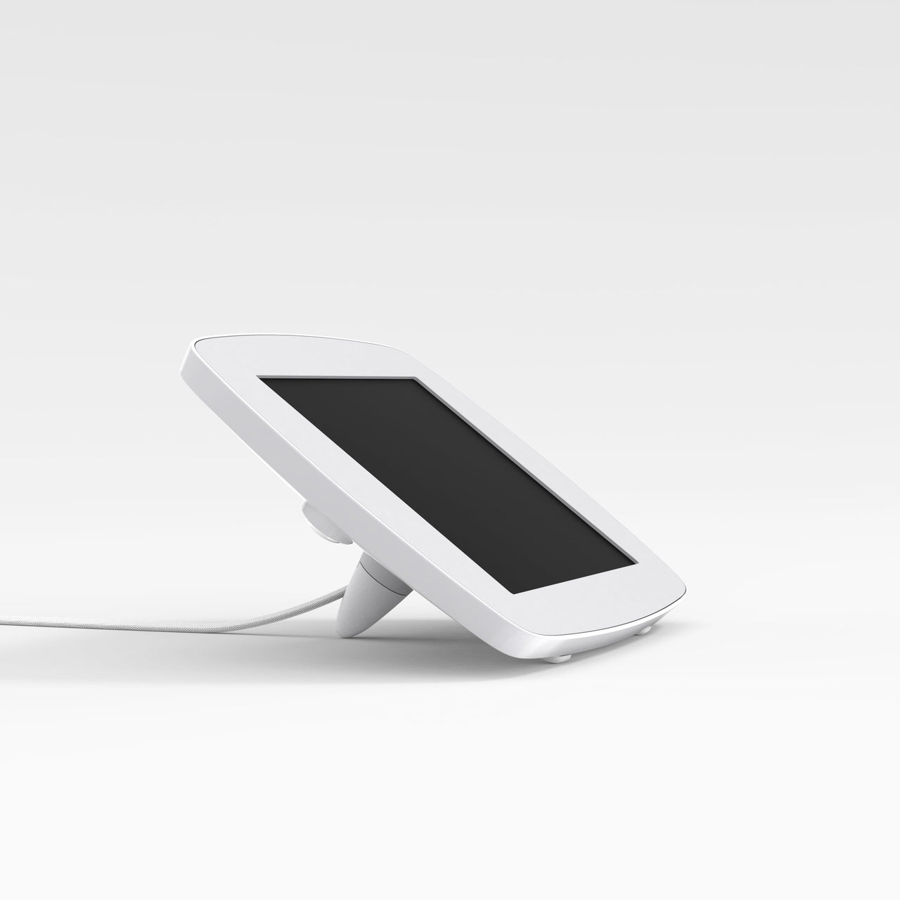 Bouncepad Lounge - A tethered tablet and iPad enclosure in white.