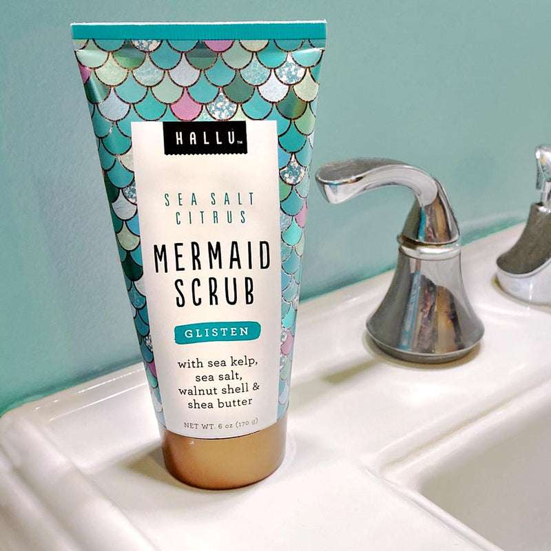 Hallu Mermaid Scrub on Bathroom Sink