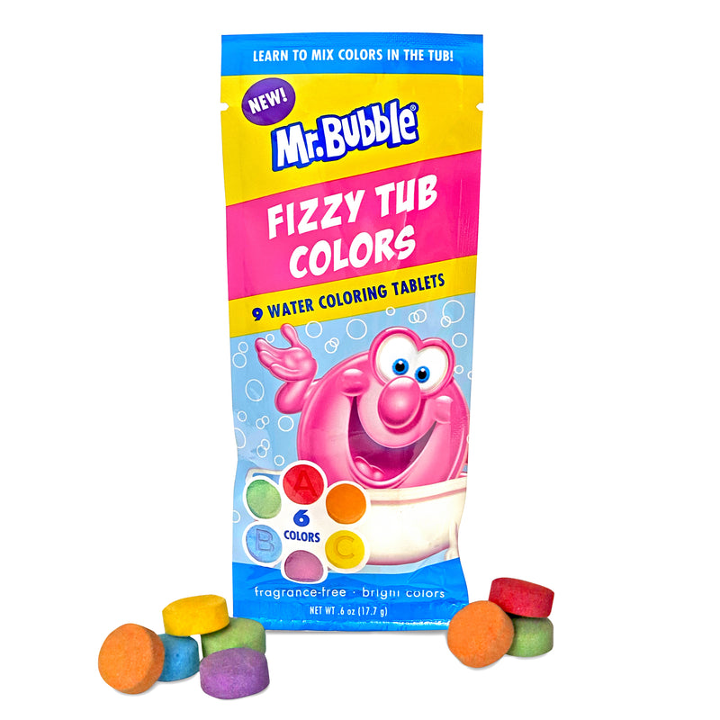 New! Mr. Bubble Fizzy Tub Colors 9 ct Packet